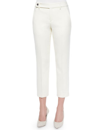 Cropped Button-Tab Twill Pants, Ecru