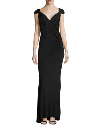 Cap-Sleeve Pleated-Front Gown, Black