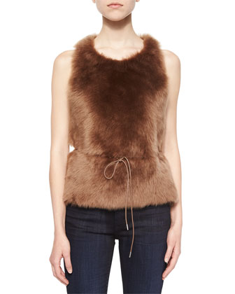 Sleeveless Shearling Fur Tie-Waist Top