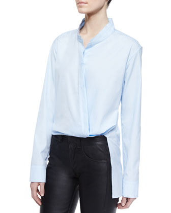 Asymmetric Overlap Long-Sleeve Shirt & Slim Leather Pants