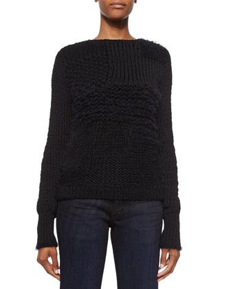 Alpaca-Blend Patchwork Sweater, Black