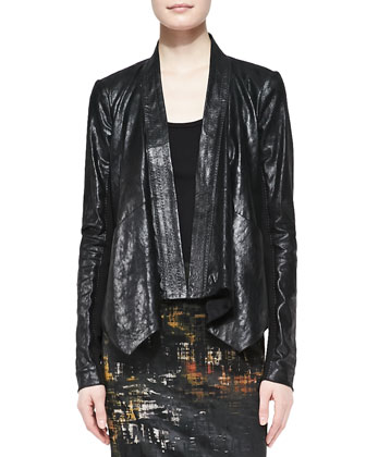 Leather Cozy Jacket with Jersey Insert