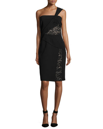 One-Shoulder Dress W/Lace Insets, Noir