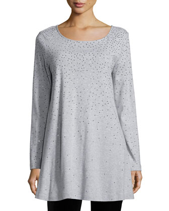 Long-Sleeve Sparkle Tunic, Petite