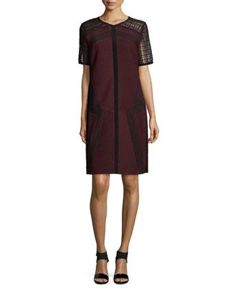 Lace-Sleeve Combo Shift Dress, Maroon
