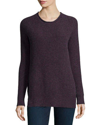 Shaker-Knit Cashmere Crewneck Sweater