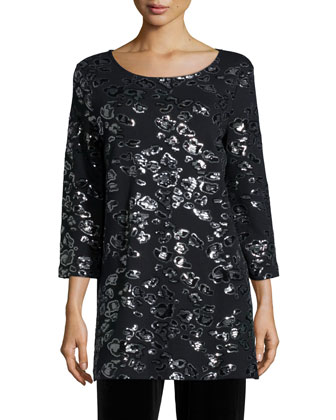 Animal Sequined Tunic, Black, Petite