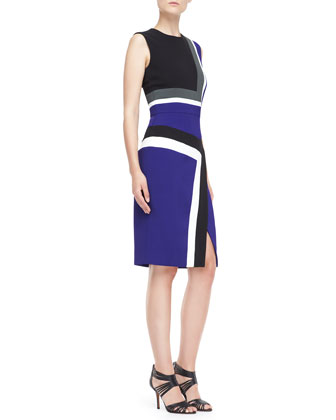 Sleeveless Colorblock Insert Sheath Dress