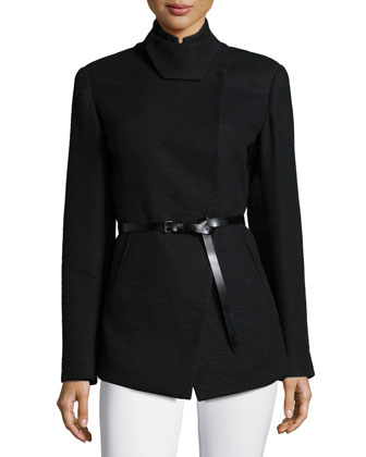 Tailored Pea Jacket W/Belt, Black