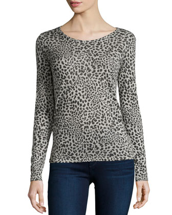 Long-Sleeve Hand-Dyed Leopard-Print Top
