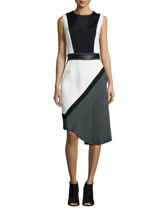 Sleeveless Colorblock Dress, Midnight Forest