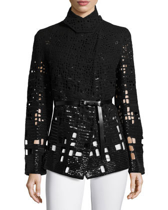 Embellished Pea Jacket W/Belt, Black
