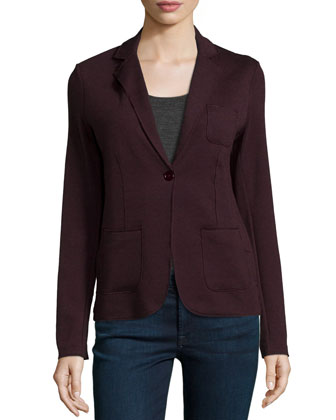 One-Button Cotton/Cashmere Blazer