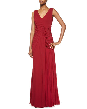 Sleeveless V-Neck Gathered Gown, Ruby