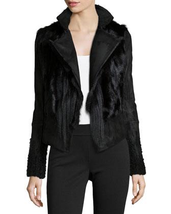 Long-Sleeve Fur Jacket W/Belt, Black