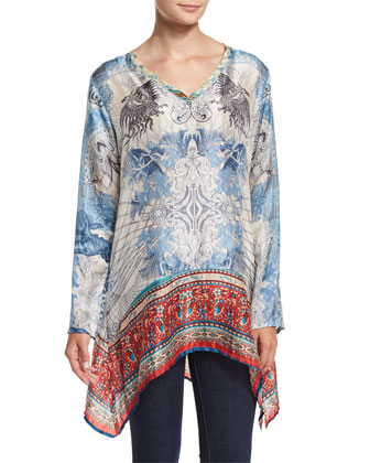 Shakai Embroidered Jacket & Currency-Print Silk Tunic, Women's