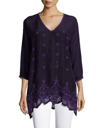 Jordee 3/4-Sleeve Georgette Tunic, Women's
