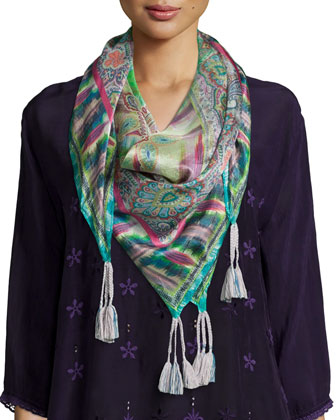 Jordee 3/4-Sleeve Georgette Tunic & Paisley-Print Silk Scarf