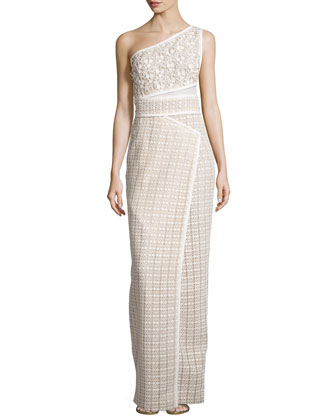 One-Shoulder Sleeveless Gown, Ivoire/Blush
