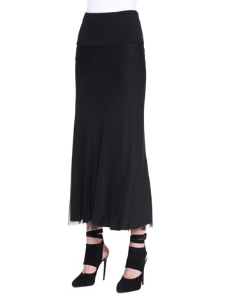 Georgette Layered Bias Skirt, Black