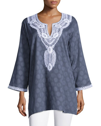 Aria Embroidered Cotton Tunic, Women's