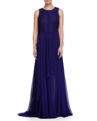 Sleeveless Lace-Embellished Cape Gown, Imperial Blue