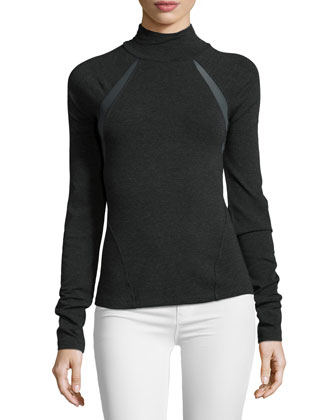 Long-Sleeve Mock-Neck Top, Charcoal
