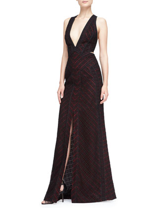 Plunging Lace-Overlay Gown