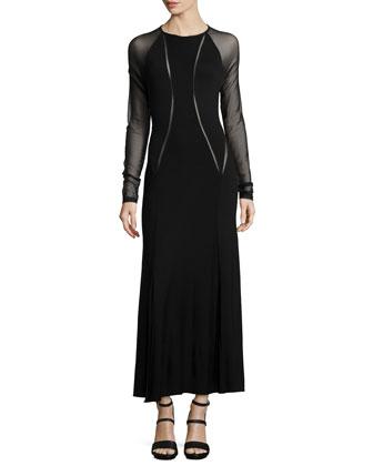 Long-Sleeve Dress w/Illusion Inserts, Black