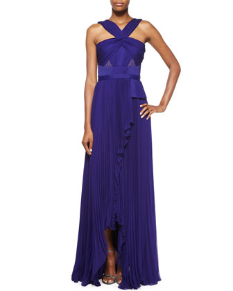 Halter-Neck Sleeveless Gown, Imperial Blue