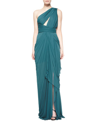 One-Shoulder Gathered Gown, Empress Green