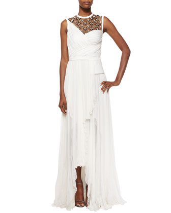 Sleeveless Embellished Gathered Gown, Ivoire/Noir