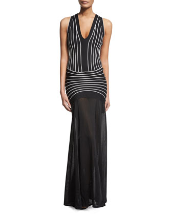 Sleeveless Contrast-Seam Halter Gown, Black Combo