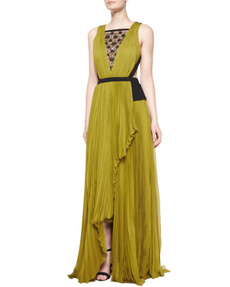 Sleeveless Embellished Two-Tone Gown, Peridot/Noir