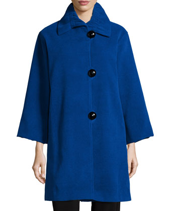 Soft Coated Mid-Length Coat, 3/4-Sleeve Flat Wool Knit Top & Stretch-Knit ...
