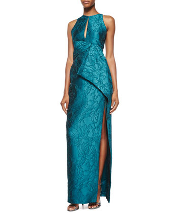 Halter-Neck Embroidered Gown, Empress Green