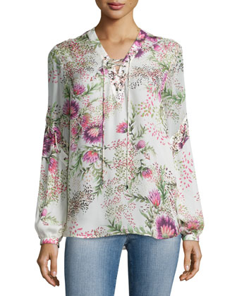 Wildflower-Print Lace-Up Blouse