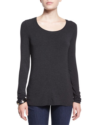 Long-Sleeve Jersey Cozy Tee, Black