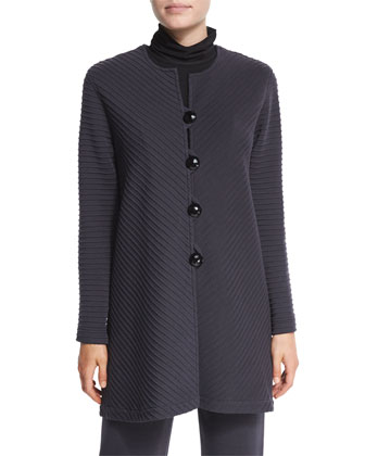Ottoman Long Button-Front Jacket