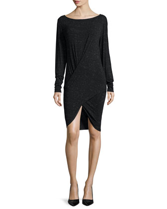 Long-Sleeve Draped-Front Tunic/Dress, Black