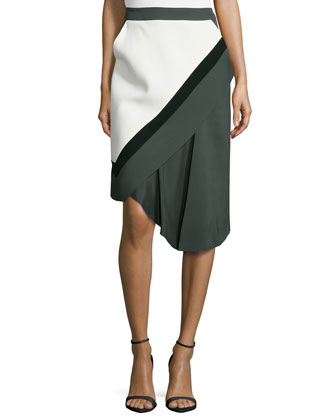Faux-Wrap Colorblock Skirt, Midnight Forest