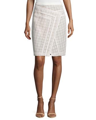 Faux-Wrap Pencil Skirt, Ivoire/Blue Flora