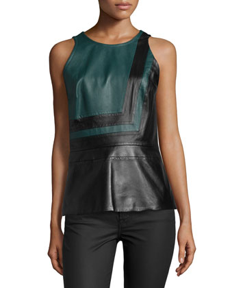 Sleeveless Colorblock Peplum Top, Midnight Forest