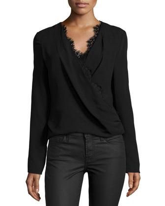 Long-Sleeve Blouse w/Lace Trim, Noir