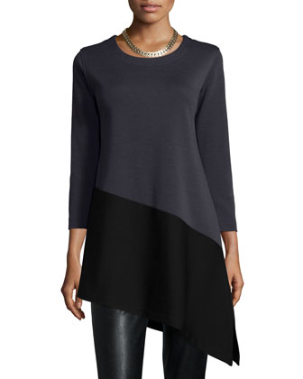 Colorblock Angled Tunic & Modern Faux-Leather/Ponte Easy Leggings, Petite