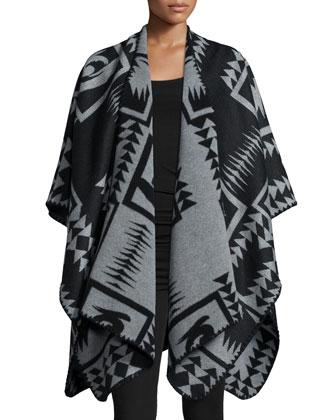 Draped-Front Poncho, Black/Gray