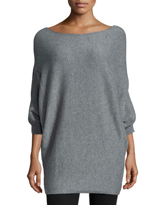 Kizzy 3/4-Sleeve Cashmere Sweater, Heather Gray