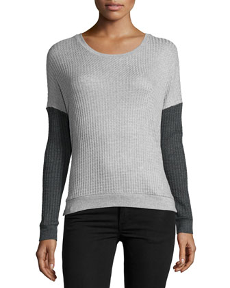 Noely Two-Tone Top, Heather Gray/Anthracite