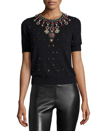 Ros Short-Sleeve Knit Rhinestone Top, Black