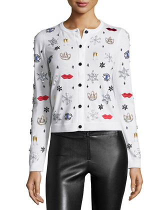 Stacey Rhinestone & Applique Wool Sweater, White